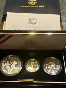 World Cup USA 1994 Three Coin Commemorative Proof Set Gold & Silver