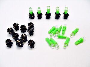 "15 Green Mopar Dome Lights Bulbs LEDs 3/8"" Sockets Instrument Panel Cluster Dash"