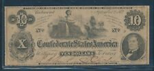 Csa #T-46 $10 1862 Bank Note (Vf+) Bu7030