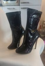 black patent faux leather sock boots size 40