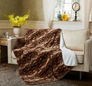 """Regal Comfort Brown Leopard Faux Fur Sherpa Over Sized Throw Blanket 50"""" x 70"""""""