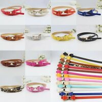 Women Fashion Candy Color Bowknot Buckle Skinny PU Leather Thin Waist Belt New