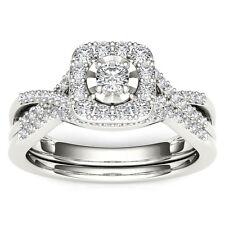 10k White Gold 0.40 Ct Round Cut Diamond Halo Engagement Ring Set
