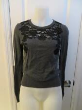 WOMENS TOPSHOP CHARCOAL GRAY,BLACK FLORAL LACED SWEATER TOP SIZE 6