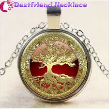 Gold Tree of Life Cabochon Glass silver necklace for women men Jewelry#T9E