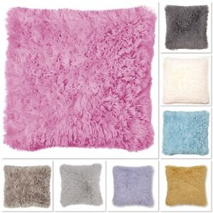 Catherine Lansfield Cuddly Shaggy Pile Soft Faux Fur Cushion Cover 8 Colours