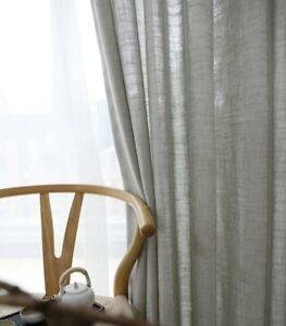 Modern Linen Semishading Curtain Norse Hemp Yarn Pure Color Cotton Linen Curtain