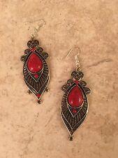 "Tibet silver fashion vintage glamour 2.5"" LONG earrings-E668"