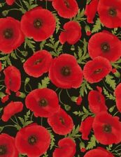 Timeless Treasures Chong-a Hwang Tossed Poppies Cotton Fabric C5837 Black BTY