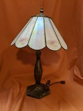 "Beautiful Vintage Meyda Tiffany  Glass 20 ""Table Lamp W/ Pink floral Accents"