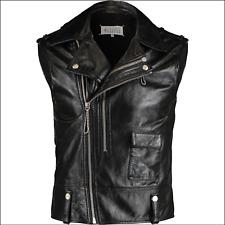 Maison Martin Margiela Black Genuine Leather Sleeveless Biker Jacket Size 48 - M