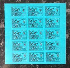 Cinderellas - Burhou, Alderney 3 Frats Puffin Stamp sheet of 15 imperf.