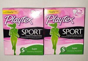 2 Playtex Sport Super Absorbency 18 Plastic Tampons Protection In Motion