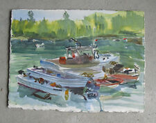 Original Watercolor Painting - Modern Fishing Boat on a River Scene