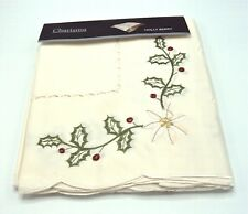 """Rectangular Embroidered Holly & Berry Xmas  Tablecloth 52"""" x 70 (132cm x 178cm)"""