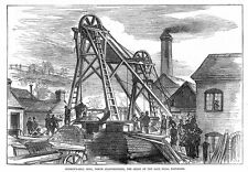 STAFFORDSHIRE Scene of the Fatal Explosion at Bunkers Hill Mine - Old Print 1875