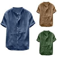Mens Short Sleeve V Neck Henley Shirts Summer Casual Blouse Beach Tops T-Shirt