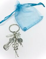 Dressmaker Keyring Gift - Sewing Machine Scissors Knitting Needles Blue Heart