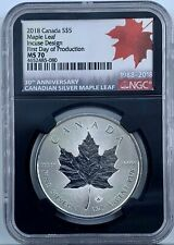 2018 Canada Silver $5 Maple Leaf Incuse Design NGC MS 70 First Day of Production