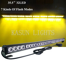 32 LED Amber Traffic Light Bar Directional Flasher for Emergency Vehicles Hazard