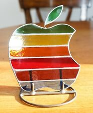 RARE APPLE MAC COMPUTERS MEMORABILIA STAINED GLASS LOGO & STAND IPHONE IPAD IPOD
