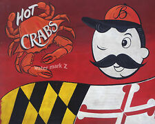 Natty Boh Crab & Maryland  Poster Print vintage style art decor baltimore md
