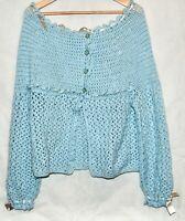 Vintage Granny Sky Blue Crochet Sweater Handmade XL Cream Ribbon Cardigan Button