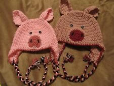 Crochet Little Piggy Hat w/Ear Flaps, Braided Ties AND Curly Tail -Baby to Adult