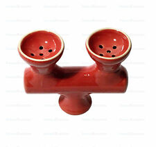 Red Double Head Bowl for Hookah Shisha Pipes - Dual 2 Head Ceramic Hooka Bowl