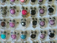 Wholesale 2Pcs silver BLACK EYE OWL Multicolor Acrylic Crystal Rhinestone Ring