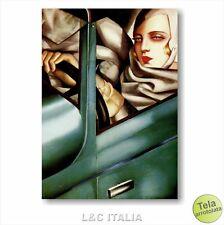 Tamara de Lempicka Autoritratto in Bugatti verde STAMPA TELA 50x70 RIPRODUZIONE