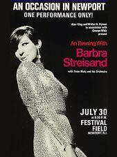 "Barbara Streisand Newport 16"" x 12"" Photo Repro Concert Poster"