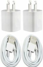 2X White Home Wall AC Charger for iPhone 6 iPhone 7 8 Data Sync USB Cable Cord