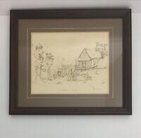 """Barbel Amos Framed Art """"Crawfish Boil"""" Pen and Ink 1984 Primitive Cabin Family"""