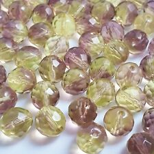 10pcs Green & Pink Faceted Czech Glass Round Beads, 10mm - GB873