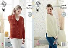 King Cole 4815 Knitting Pattern Womens Raglan Sweater & Cardigan in Fashion Aran