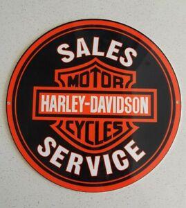 Old Harley Davidson Motor Cycles Sales Service Porcelain Enamel Sign
