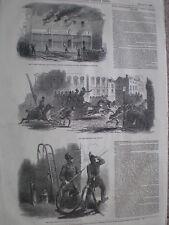 Destrucción total Teatro Olímpico Londres 1849 antiguos impresión mi REF T