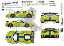 "[FFSMC Productions] Decalcomanie 1/18 Ferrari F-458 GT ""Krohn Corsa"" (LM 2012)"