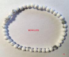 Bracelet en pierre howlite, perle de 4 mm  LITHO-REIKI gemstone