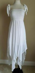 Indigo Rein M White Sleeveless High Elastic Waist Juniors Women Long Maxi Dress