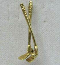 Brosche aus Gold 585, 14 Kt. Golfschläger, Golf, 27 mm lang, 1,7 Gramm schwer