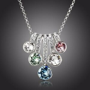 Made With Sparkly Multi-Color Swarovski Crystal Chain Necklace Pendant Jewelry