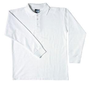 2 Pk Boys Girls Long Sleeve Polo Shirts. School Uniform. Sizes 20-36 (2 -13 yrs)
