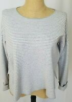 Eileen Fisher Top Small White Gray Striped Cuffed Long Sleeves Crew Neck Boxy