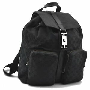 Authentic GUCCI Backpack GG Canvas Leather Black A8696