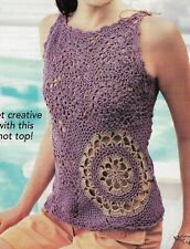 Mixed Motif Cami Top 7 Sizes Women'S Crochet Pattern Instructions