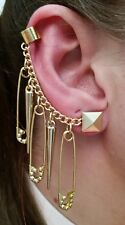 Harley Quinn Gold Octogon Embellished Safety Pins & Large Spike Earrings!