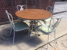 Vintage Russell Woodard Trianon Iron Patio Garden Round Dining Set 4 Chairs