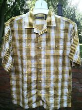 Vintage Plaid Short Sleeve Woven Shirt /Yellow